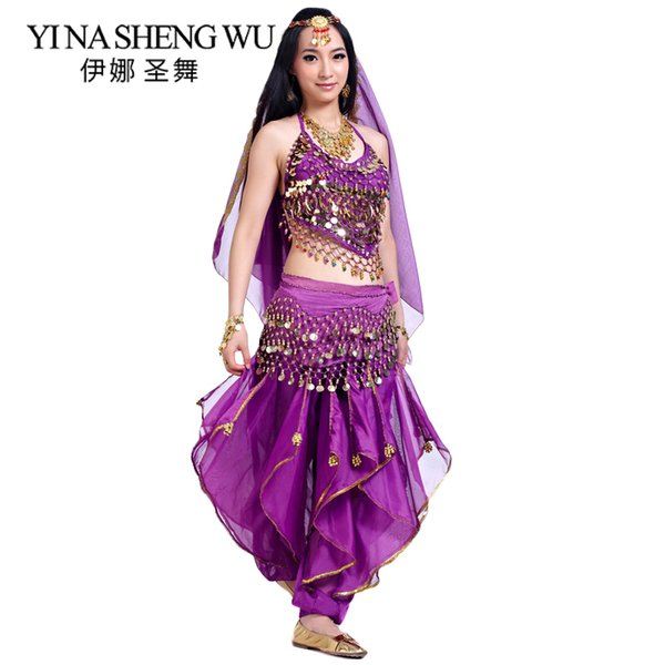 Bollywood Belly Dance Costumes Adults Indian Dance Performance Set Belly Costumes 5Pcs Headdress+Veil+Top+Hip scarf+Pants