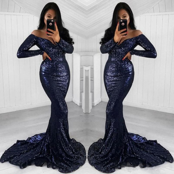 JaneVini Sparkle Sequined Mermaid Formal Evening Dresses Long Sleeve Evening Gown 2018 Sexy Navy Blue Off The Shoulder Women Party Dresses