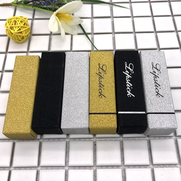 100 unids / lote- 2.5 * 2.5 * 8.5 cm Caja de Cartón de Oro Regalo Del Banquete de Boda Papel de Plata Lápiz Labial Botella de Perfume Cajas de Embalaje
