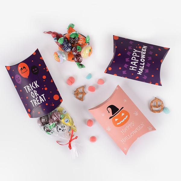 14x10x2.8cm Halloween Box For Party Pillow Shape Vampire Mummy Pumpkin Candy Gift Bag Packaging Kids Creativity Ghost Cookies Box