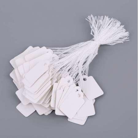 top popular Rectangular Blank White Price Tag 100 Pcs With String Jewelry Label Promotion Store Accessories 2021