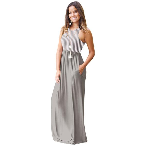 low priced 8afc8 77332 Acquista Vestiti Lunghi Casuali Di Estate Le Donne Senza Maniche Lunghezza  Del Pavimento Maxi Dress Women O Collo Vestito A Righe Abiti Femminili A ...