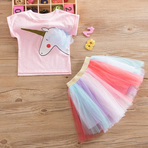 Sweet Pink Princess Girl Unicorn Party Dress Tutu Tulle Costume For Kids Clothes Children Casual Wear Outfits For Little Baby 2T