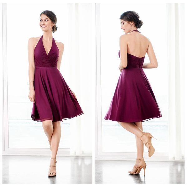 cc4e847672 Halter simple sin mangas de gasa vestidos de dama de honor A-line Robe de