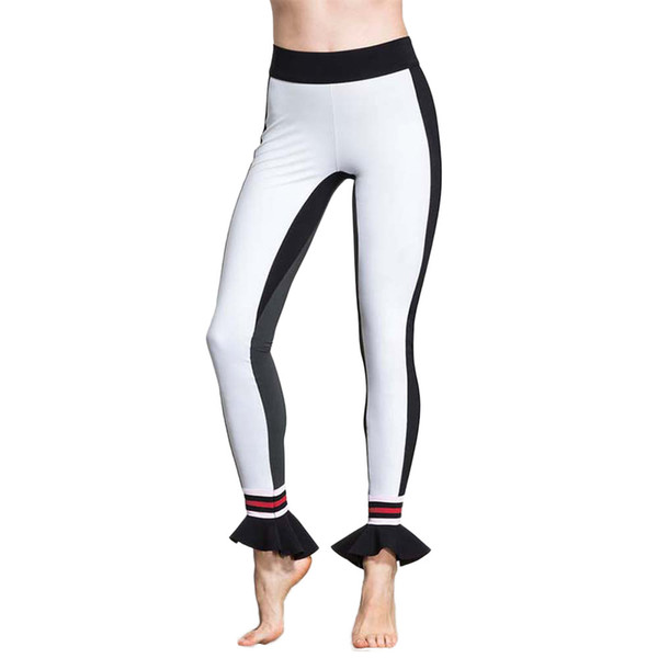 NEW Workout Sport Leggings Women Patchwork High Waist Elastic Band Yoga Pants Ladies Loose Breathable Sports Wear For Women Gym