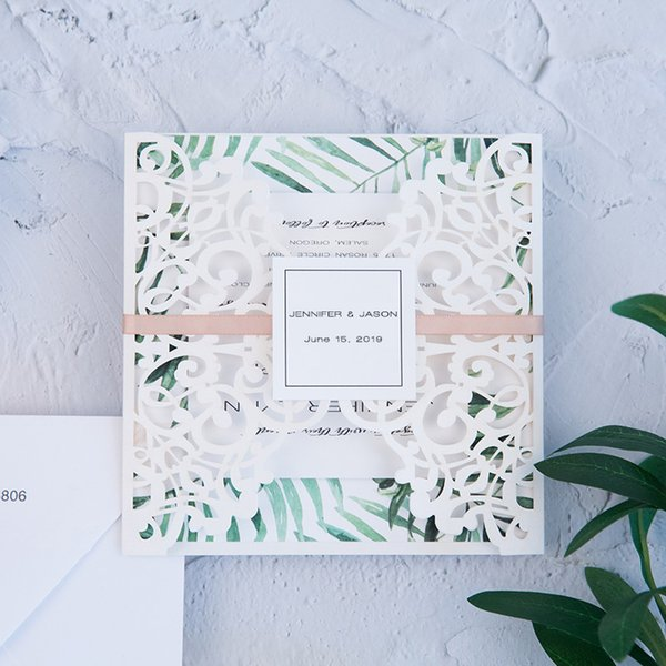50 Set Design Laser Print Customizes Invitations Cards For Wedding Ribbons Decorations With Envelope RSVP Card Paper Convites