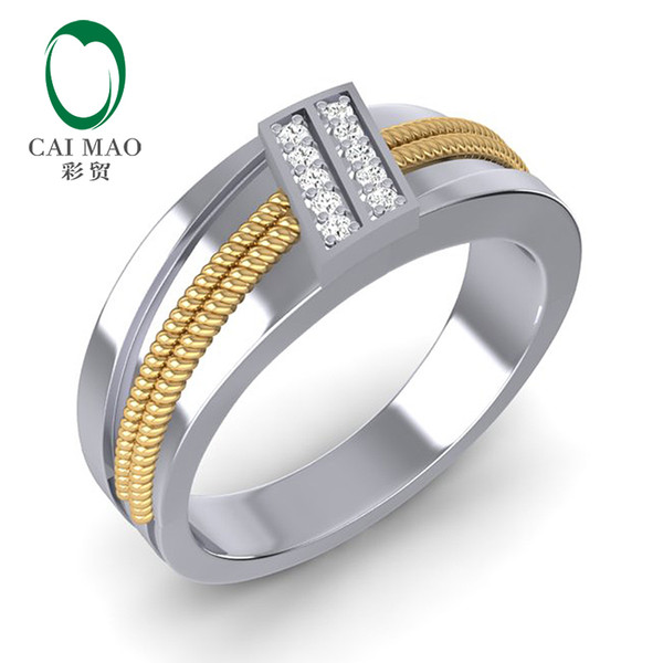caimao 14k white & yellow gold 0.13ct natural diamond twisted rope mens wedding band mens ring, Golden;silver