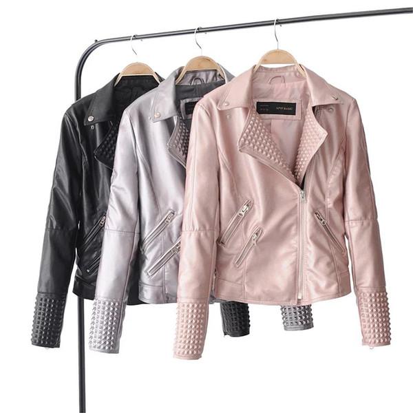 Good Quality Women Autumn Faux Leather Jacket Rivet Motorcycle Winter Ladies Basic Short PU Leather Jackets Coat Black Silver