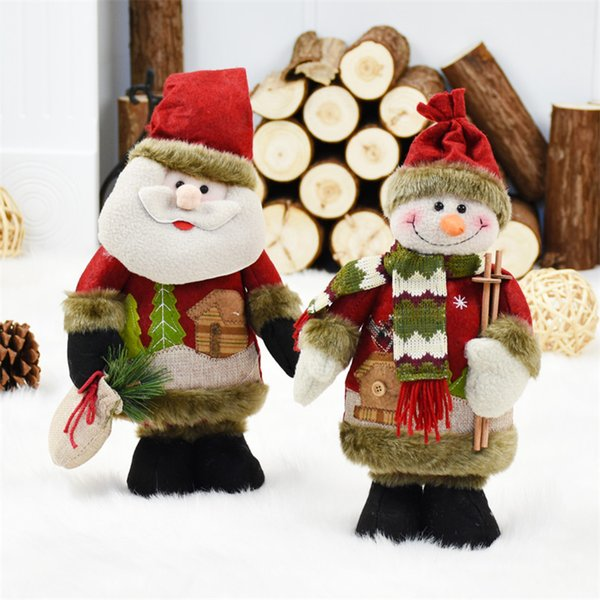 Festival Party Ornaments 2pcs/lot Santa Claus+Snowman Christmas Doll New Year Display Window Christmas Decorations Standing Toy