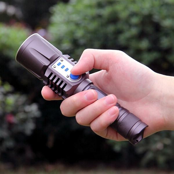 E-SMARTER 3800LM XM-L2 T6 LED Flashlight Torch Brightness LED USB Charge 5 Modes Mobile Power Bank Intelligent Flashlight LEF_20W