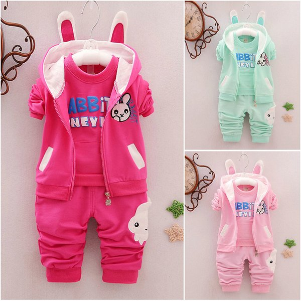 3PCS Toddler Kids Baby Girls Outfits Cute Rabbit Coat+T-shirt+Pants Toddler Set Kids Clothes Childrens Clothing