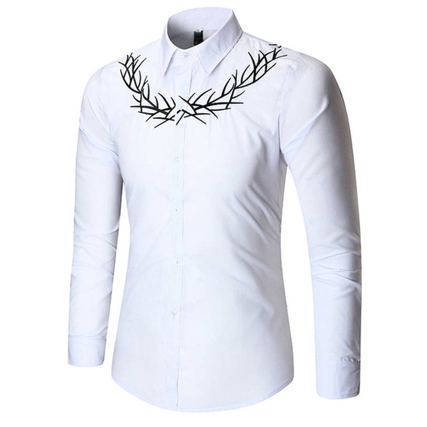Men Shirts Luxury Embroidery Shirt Suit Fashion Youth Formal Wedding Dress Shirts Long Sleeve Tops Men Clothings 1100