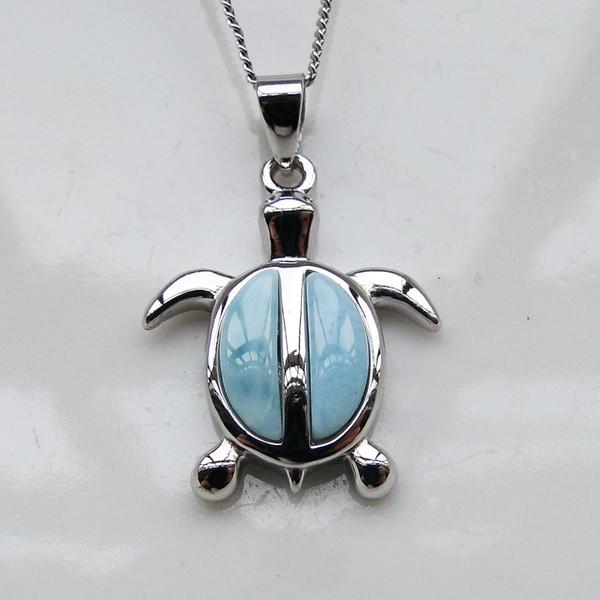 Стерлингового серебра 925 кулон природных Larimar кулон симпатичные Морская Черепаха Шарм кулон для мужчин и женщин подарок ювелирные изделия без ChainY1883008