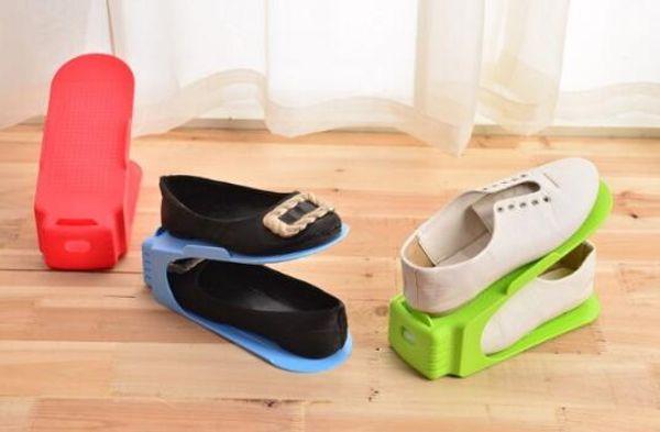 2019 venta caliente de todo en un organizador del estante del zapato de plástico zapatos de soporte de doble cubierta simple dormitorio de la universidad útiles suministros