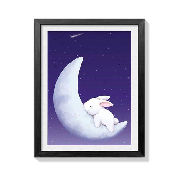 Lan New Pattern Diy Diamonds Picture Moon Rabbit Modern Bedroom Decoration Painting Full Of Drills Cartoon Cross Embroidery