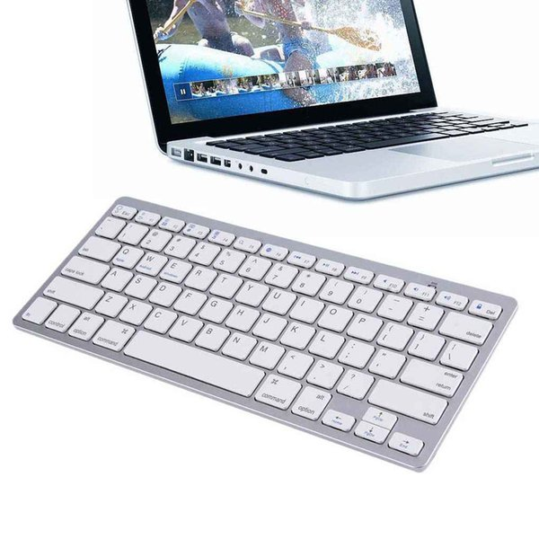 Ultra-Slim Wireless Bluetooth Tastaturen 78 Tasten Tastatur Silber für Android / Windows / iOS