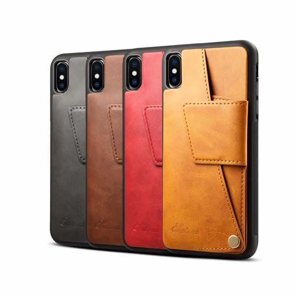 Creative For iPhone XR mobile phone case For apple iPhone XS Max Card slot holster rotating rear cover type protective case