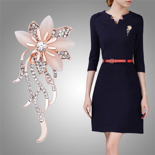 2018 New Arrival Fashion Opal Stone Flower Brooch Vintage Turkish Flower Brooches Pin Rhinestone Garment Accessories Birthday Gift