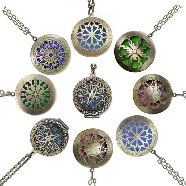 whole sale1pc 28' Chain Pads Antique Bronze Aromatherapy Pendants Essential Oil Perfume Aroma Diffuser Necklace Locket Necklace