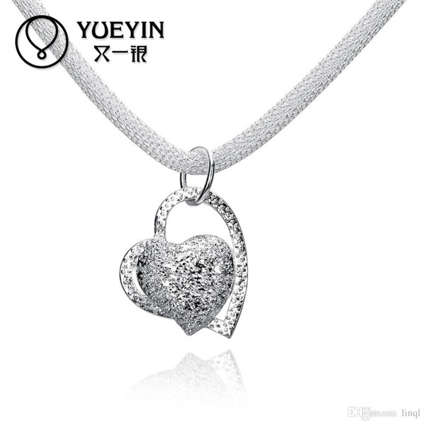 Monili d'argento di trasporto libero, pendente creativo europeo ed americano del cuore, collana d'argento degli amanti