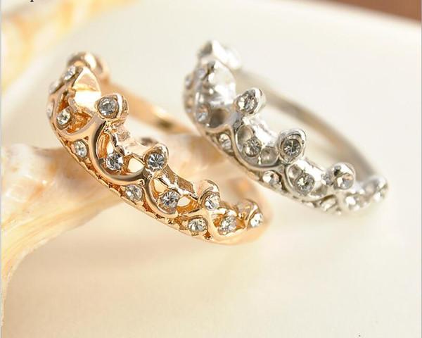 Ретро темперамент полые Алмаз резные корона кольцо указательный палец хвост кольцо женские ювелирные изделия