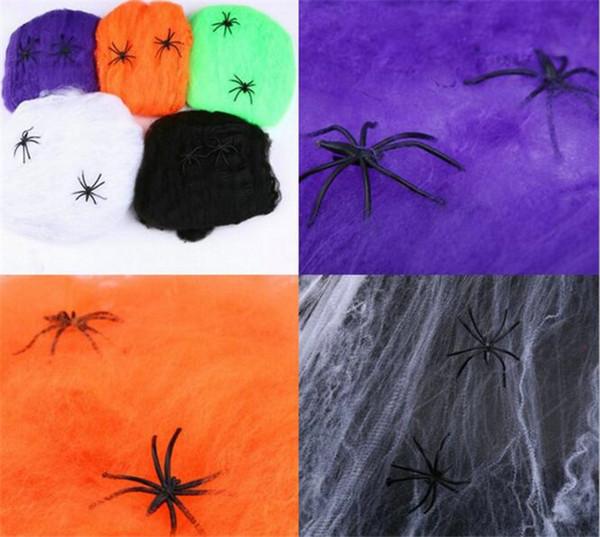 600 unids telaraña telaraña araña con la fiesta de Halloween KTV Bar Props bola traje decoración fuentes G293