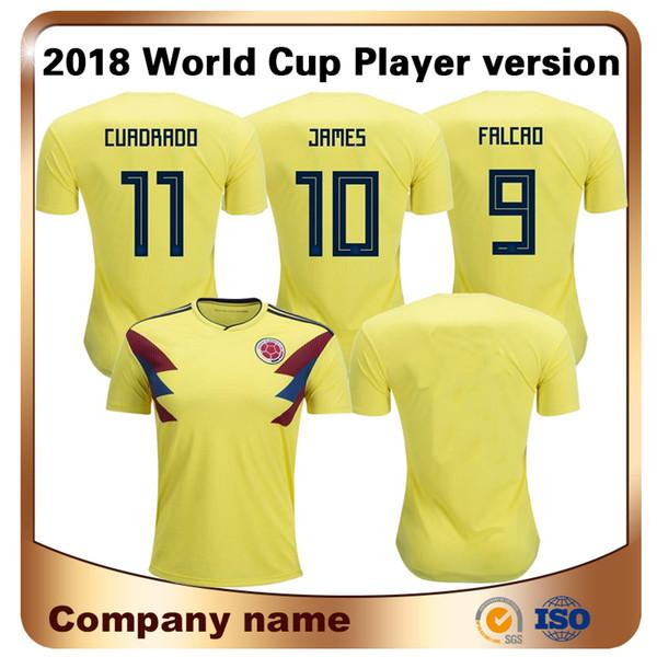 2018 Copa Do Mundo Limitada Colômbia Jogador de Futebol Jersey Camisa Amarela Casa # 9 Falcao # 10 James Nacional Uniforme Da Equipe de Futebol Da Tailândia