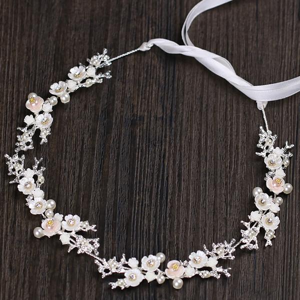 Handmade Pearl Headband Wedding Bridal Crystal Crown Tiara Rhinestone Hair Accessories Band Ribbon Jewelry Gold Princess Headdress Headpiece