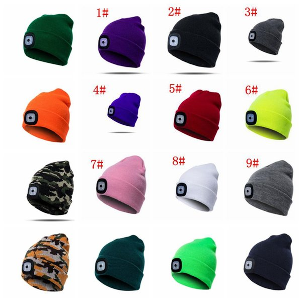 17 Colors 4 LED Light Hat Battery Type Winter Beanies Fishing Camping Cap Knitted Hat adult Camping Outdoor Crochet Party Hat KKA5984