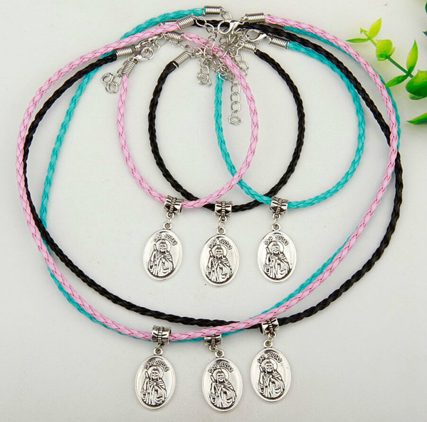 10set/lot Hot Sale Antique Silver San Judas Tag Charm Pendant Multicolor Braided Rope Necklace Bracelet Set Women&Men Jewelry Holiday Gift