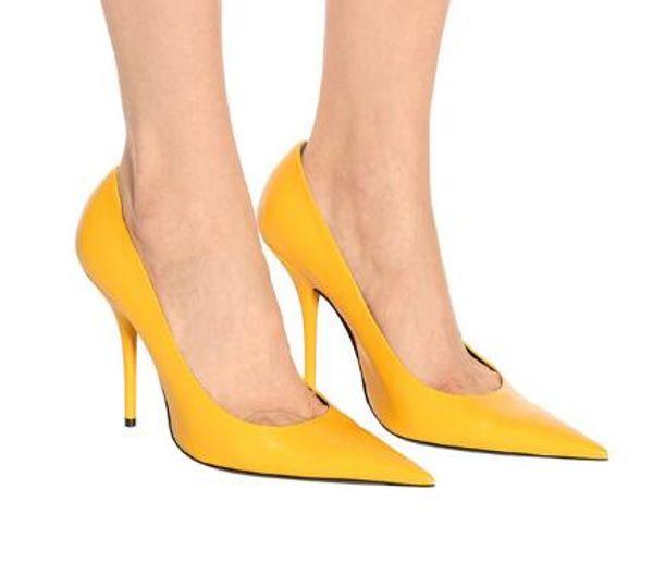 Großhandel Stiletto High Heels Extrem Spitz Klassisch Gelb Leder Party Hochzeit Chic Damen Schuhe Neue Marke Designer Pumps Von Yourshoes0626, $150.96