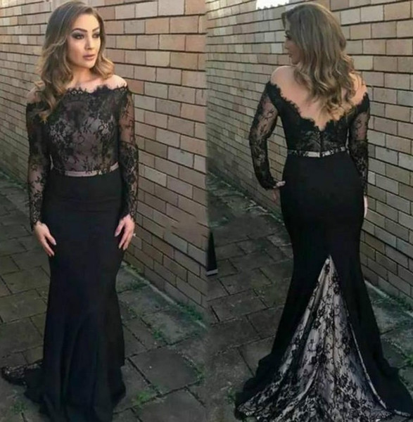 Long Sleeve Mermaid Evening Dresses 2018 Off Shoulder Backless Sweep Train Elegant Formal Black Lace Prom Party Gowns Plus Size Customized