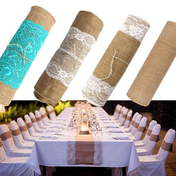 275cmx30cm Vintage Natural Burlap Jute Linen Table Runner Lace Cloth For Dinning Room Restaurant Table Gadget Home Decor