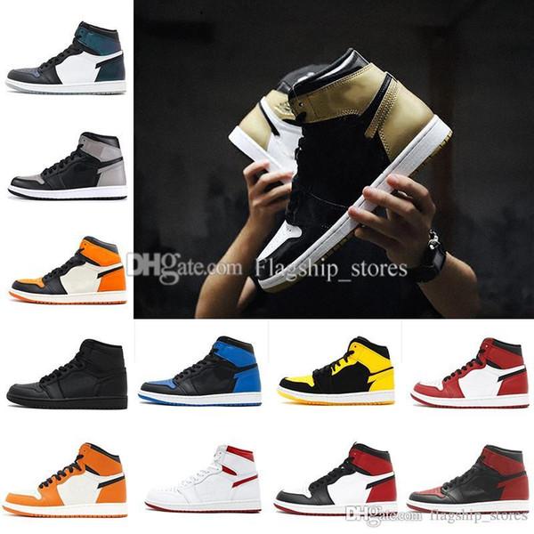 1 Men Basketball Shoes 1 Gold Top 3 Black White Barons Bred Banned Chameleon City Of Flight Game Royal Fragment Royal Blue New Love US 7-13