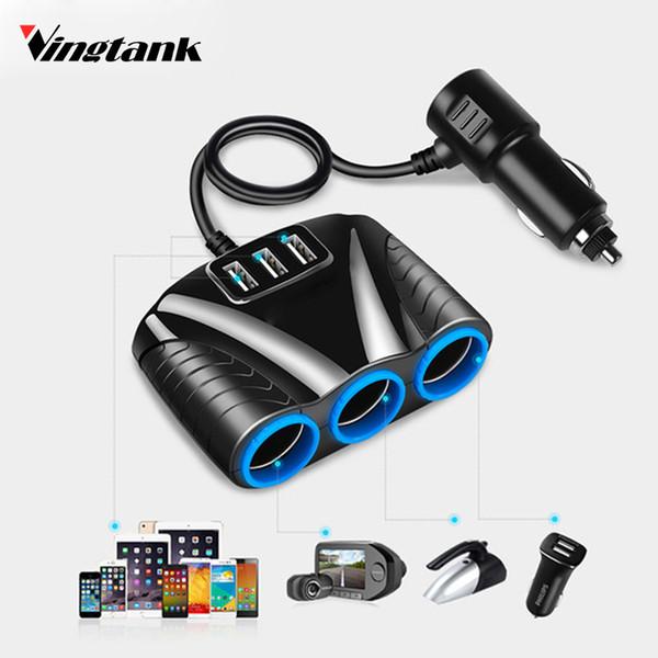 Vingtank 3 USB Port 3 Way 3.1A 12V-24V Car Cigarette Lighter Socket Splitter Hub Power Adapter For iPad Smartphone DVR GPS