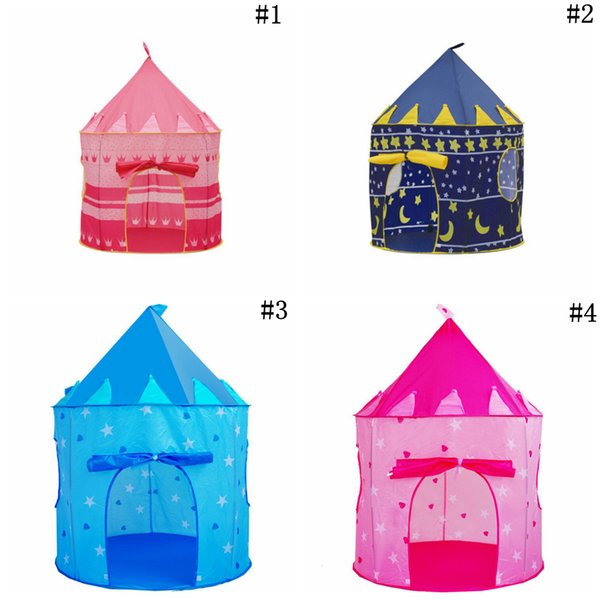 top popular Foldable Pop Up Play Tent Kids Boy Prince Castle Playhouse Indoor Outdoor Folding Tent Cubby Play House Novelty Items 30pcs OOA5481 2020