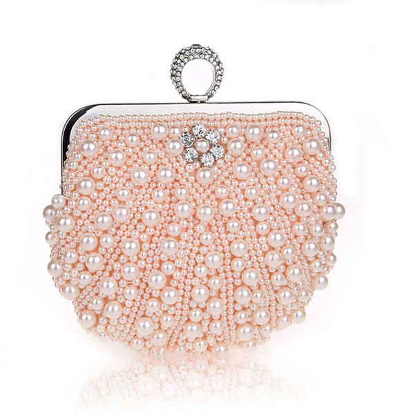 2018 New Hot Evening Bags Diamonds Pearl Finger Ring Day Clutch Fashion Women's Party shoulder bag 2019