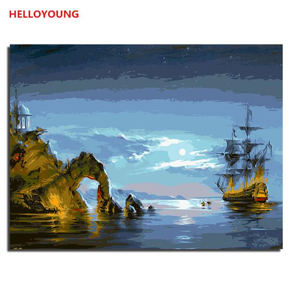 HELLOYOUNG DIY Handpainted Oil Painting Maritime wonder Digital Painting by numbers oil paintings chinese scroll paintings