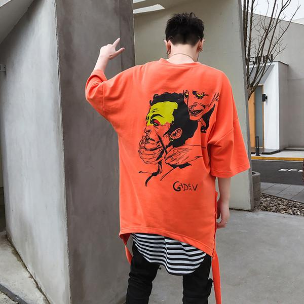 2018 Algodão Verão Swag T Shirt Estendido Face Faca Impressão Tyga Tops Tees Camisas EUA Tamanho M-XL