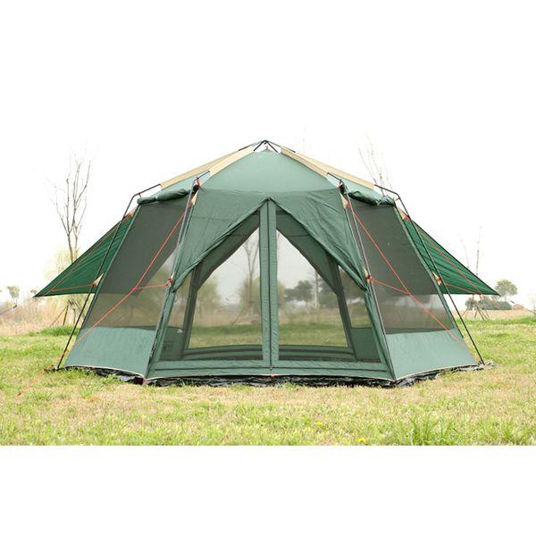 Double couche UV hexagonale anti-moustique grande ombre auvent pergola extérieure famille fête plage / pêche tente comprennent tapis de sol