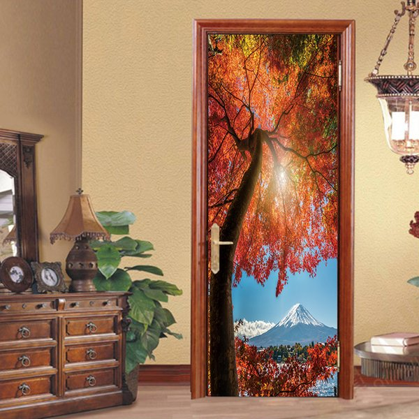 2pcs/set Creative Maple Tree Beautiful Landscape DIY Door Sticker Decoration Wall Sticker Wallpaper Living Room Bedroom Waterproof Art Decal