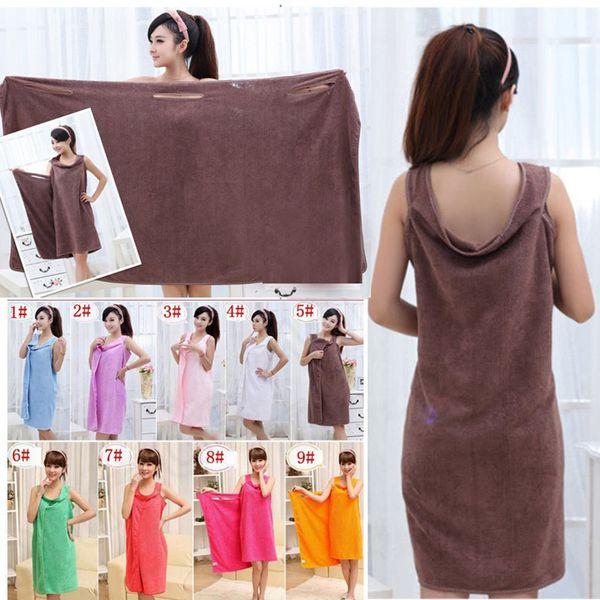 Magic Bath Towels Lady Girls SPA Shower Towel Body Wrap Bath Robe Bathrobe Beach Dress Wearable Magic Towel 9 color