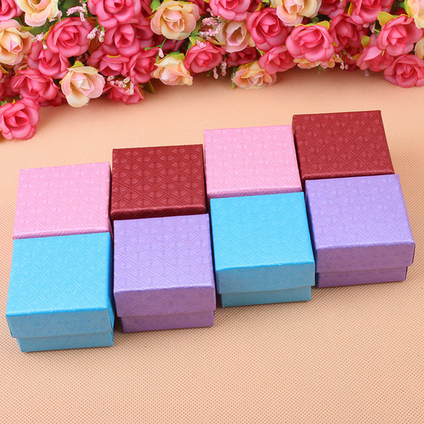 top popular China Factory spot Beautiful new style jewelry packing box 5x5 Earring Ring Jewelry Box Four Colors Mixed Order 2021