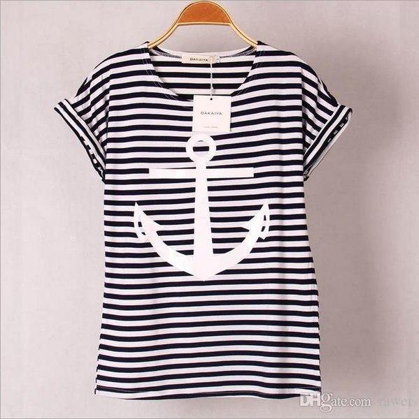 Wholesale- 2016 colors Navy Striped with Printed Anchor Bear women T-shirts short Hot Sleeve t shirts Stretch Cotton tees Modal tops S/XL