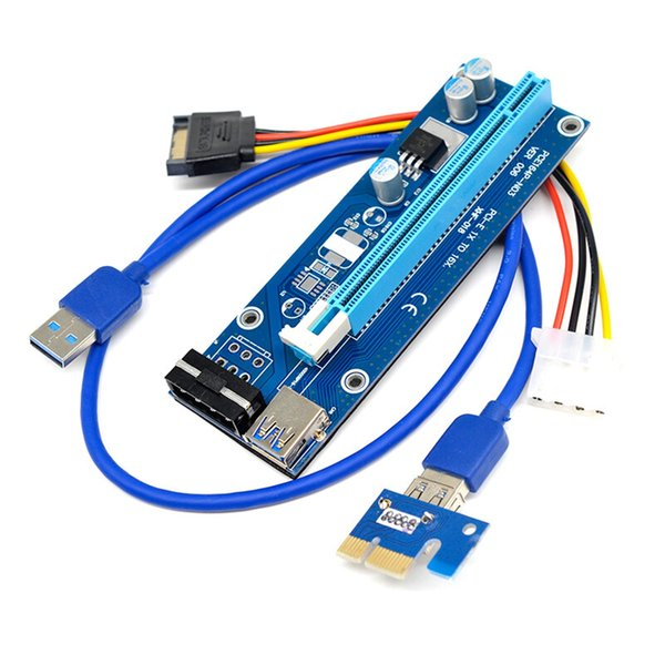 PCI-E 1x to 16x Extender Rise Card for BTC Bitcoin Mining 4-pin Compatible with 1x, 2x, 4x, 8x PCI-E slot of the motherboard