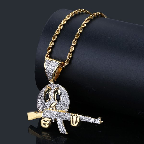 Men's Hip Hop Pendant Necklace Iced Out Emoji Face Character With Gun Chain Charm Gold Silver Cubic Zircon Men's Luxury Jewelry For Gift