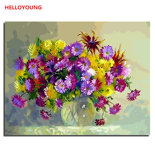 HELLOYOUNG DIY Handpainted Oil Painting Flowers Digital Painting by numbers oil paintings chinese scroll paintings Home Decor