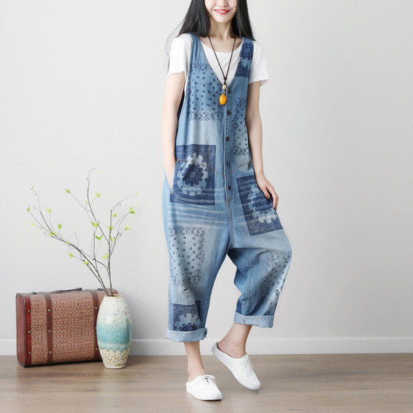 Women Floral Printed baggy Denim Jumpsuit hole ripped Jeans Overalls Wide leg pants V neck drop crotch Button Rompers