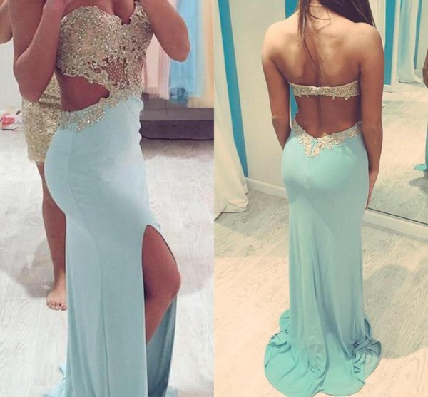 2019 New Prom Dresses with Slit Side Cut Out Sweetheart Sexy Party Dresses Beaded Appliques Backless Dresses Party Evening Gowns