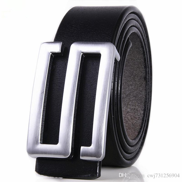 New Item Imported Italian Cow Leather Belt for Men Classic Genuine Leather Strap S Letter Silver Buckle Men Belts free shipping belt83